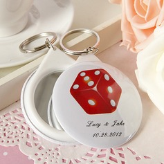 Personalized Round Plastic Keychains/Compact Mirror (Set of 5)