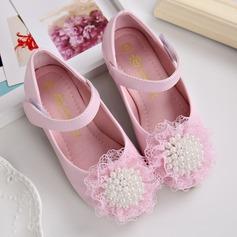 Girl's Closed Toe imitatieleer Flat Heel Flats Bloemenmeisje schoenen met Imitatie Parel Velcro