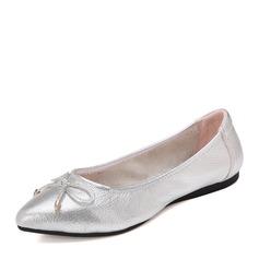 Kvinnor Äkta läder Flat Heel Platta Skor / Fritidsskor Stängt Toe med Bowknot skor