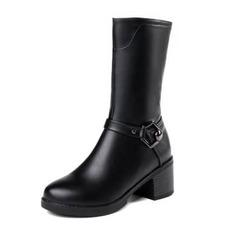 Frauen Kunstleder Stämmiger Absatz Stiefel Stiefel-Wadenlang mit Schnalle Schuhe