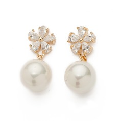 Beautiful Pearl/Zircon Ladies' Earrings (011061046)