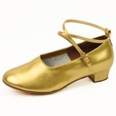 De mujer Niños Piel brillante Planos Sala de Baile con Tira de tobillo Zapatos de danza