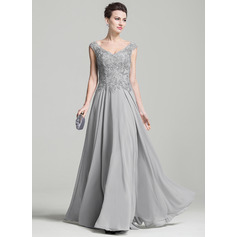 A-Line/Princess V-neck Floor-Length Chiffon Evening Dress With Appliques Lace (017092348)