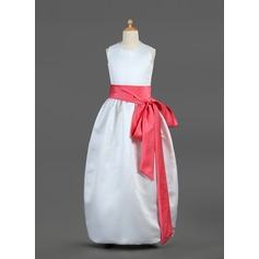 Ball Gown Floor-length Flower Girl Dress - Satin Sleeveless Scoop Neck With Sash/Bow(s) (010002144)