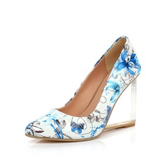 Patent Leather Wedge Heel Pumps Closed Toe shoes (116057286)
