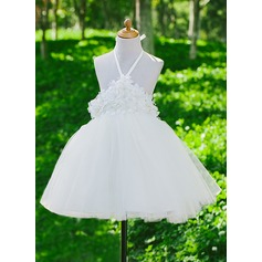 Forme Princesse Robes à Fleurs pour Filles - Satiné/Tulle Sans manches Dos nu avec Fleur(s)