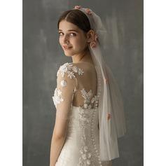 One-tier Cut Edge Elbow Bridal Veils With Applique