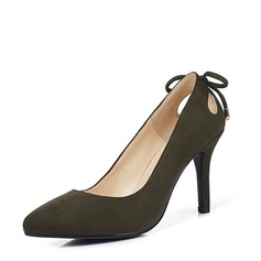 Women's Suede Stiletto Heel Pumps With Bowknot Hollow-out shoes