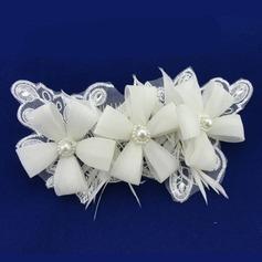 Gorgeous Imiteret Pearl/Blonder/Chiffon Kamme & Hårspænder med Venetiansk Perle (Sælges i et enkelt stykke)