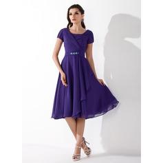Çan/Prenses Kare Yaka Diz Hizası Chiffon Mezunlar Gecesi Elbisesi Ile Büzgü Boncuklama