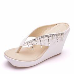 Vrouwen Kunstleer Wedge Heel Flip Flops Peep-toe Plateau Wedges met Tassel