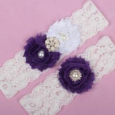 Elegante Encaje/Chifón con Rhinestone/Perlas de imitación boda Ligas