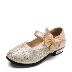 Flicka rund tå konstläder platt Heel Platta Skor / Fritidsskor Flower Girl Shoes med Bowknot Strass Kardborre