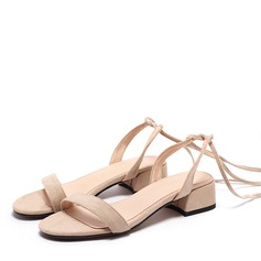 Women's Suede Low Heel Sandals Peep Toe With Lace-up shoes