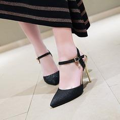 Mulheres Couro Salto agulha Sandálias Bombas Fechados Sapatos abertos com Fivela sapatos