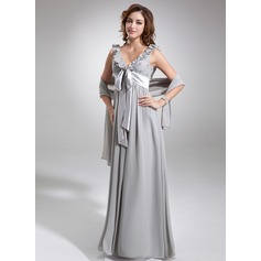 Empire V-neck Floor-Length Chiffon Bridesmaid Dress With Beading Bow(s) Cascading Ruffles