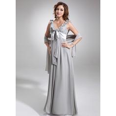 Empire-Linie V-Ausschnitt Bodenlang Chiffon Brautjungfernkleid mit Perlen verziert Schleife(n) Gestufte Rüschen
