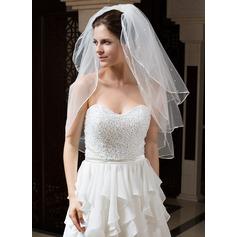 3 couches Voile de mariée longueur coude avec Bord en ruban