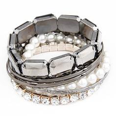 Vackra Legering med Pärla/Strass Kvinnor Armband