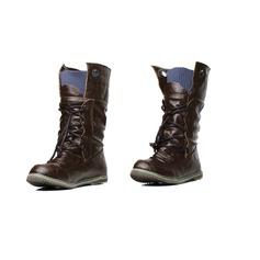 Similpelle Senza tacco Stivali altezza media Stivali da equitazione con Allacciato scarpe