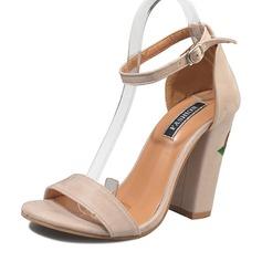 Kvinder Ruskind Stor Hæl sandaler Pumps Kigge Tå med Spænde sko