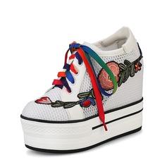 Kvinnor Äkta läder Mesh Kilklack Plattform Kilar med Bandage Blomma skor