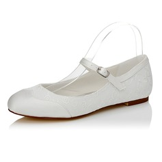 Women's Satin Flat Heel Closed Toe (047089938)