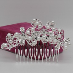 Ladies Exquisite Alloy Combs & Barrettes With Rhinestone/Venetian Pearl (Sold in single piece)