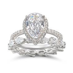 Sterling silver Cubic Zirconia Läcker Årgång Päronskär Förlovningsringar Bruduppsättningar