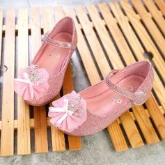 Flicka Stängt Toe konstläder platt Heel Platta Skor / Fritidsskor Flower Girl Shoes med Strass Satäng Blomma