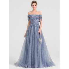 A-Line/Princess Off-the-Shoulder Sweep Train Tulle Evening Dress With Sequins (017147951)