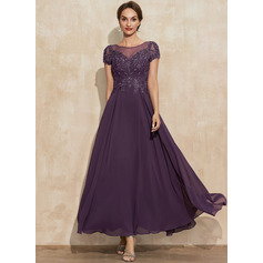 A-Line Scoop Neck Ankle-Length Lace Chiffon Mother of the Bride Dress With Sequins