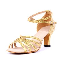 Women's Leatherette Sandals Latin With Ankle Strap Hollow-out Dance Shoes