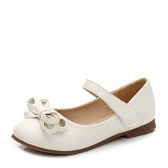 Fille de bout rond Cuir en microfibre talon plat Chaussures plates avec Bowknot Velcro