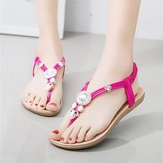 Kvinnor Konstläder Flat Heel Sandaler Peep Toe Slingbacks med Beading Elastiskt band skor
