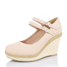 Kvinnor PU Kilklack Stängt Toe Kilar med Spänne skor