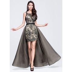Vestidos princesa/ Formato A Decote redondo Longos Destacável Tule Renda Vestido de baile com Pregueado