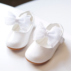 Jentas Round Toe Lukket Tå Leather flat Heel Flate sko Flower Girl Shoes med Bowknot Velcro (207176665)