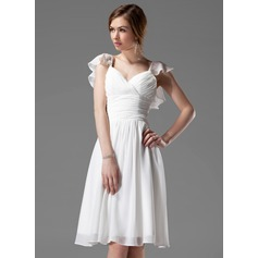 A-Line/Princess V-neck Knee-Length Chiffon Bridesmaid Dress With Beading Cascading Ruffles