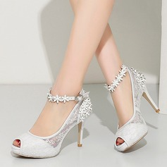 Women's Lace Real Leather Stiletto Heel Peep Toe Pumps Beach Wedding Shoes With Hollow-out Flower