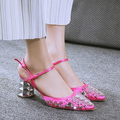 Women's Leatherette Chunky Heel Closed Toe With Rhinestone