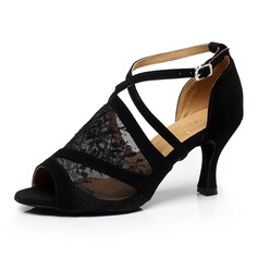 Women's Satin Lace Sandals Latin With Hollow-out Dance Shoes