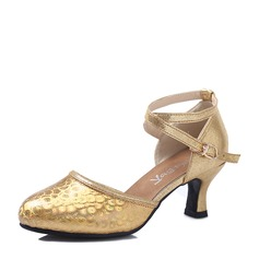 Mulheres Couro Espumante Glitter Saltos Latino com Oca-out Aplicação de renda Sapatos de dança