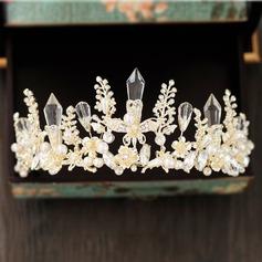 Damer Elegant Crystal/Rhinestone/Legering Tiaraer med Venetianske Perle