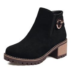 Женщины Замша Устойчивый каблук На каблуках Ботинки Полусапоги с Застежка-молния обувь