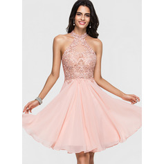 A-Line Halter Knee-Length Chiffon Homecoming Dress With Lace Beading