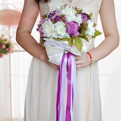 Elegant Round Satin Bridal Bouquets/Bridesmaid Bouquets (Sold in a single piece) -