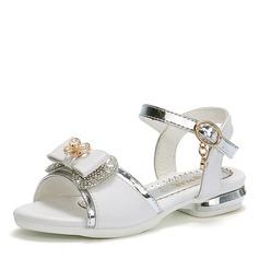 Fille de bout rond À bout ouvert similicuir talon plat Sandales Chaussures plates Chaussures de fille de fleur avec Bowknot Cristal