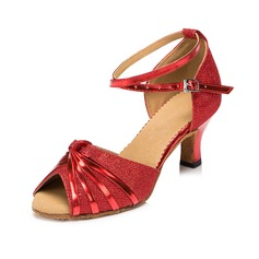 Women's Sparkling Glitter Heels Sandals Latin With Ankle Strap Dance Shoes (053069745)