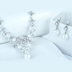 Ladies' Elegant Copper/Platinum Plated Cubic Zirconia/Imitation Pearls Jewelry Sets For Bride/For Bridesmaid